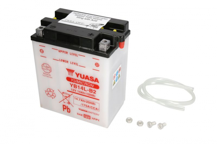 Baterie moto Acid/cu intretinere YUASA 12V 14Ah 175A R+ aerisire dreapta 134x89x166 Incarcare uscata fara acid  0