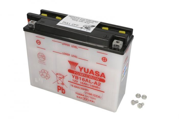 Baterie moto Acid/cu intretinere YUASA 12V 16Ah 210A R+ aerisire stanga 207x72x164 Incarcare uscata fara acid 0