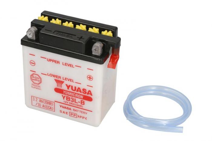 Baterie moto Acid/cu intretinere YUASA 12V 3Ah 30A R+ aerisire dreapta 98x56x110 Incarcare uscata fara acid  0