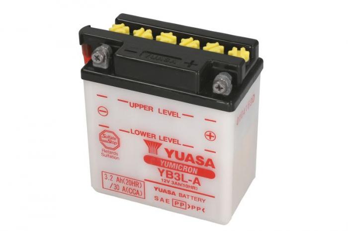 Baterie moto Acid/cu intretinere YUASA 12V 3Ah 30A R+ aerisire stanga 98x56x110 Incarcare uscata fara acid  0