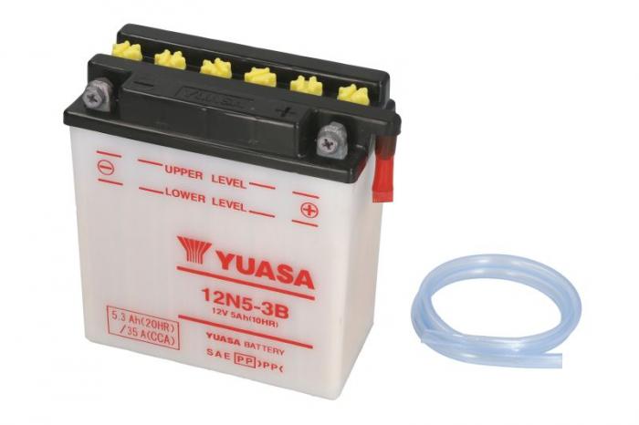 Baterie moto Acid/cu intretinere YUASA 12V 5Ah 35A R+ aerisire dreapta 120x60x130 Incarcare uscata fara acid  0