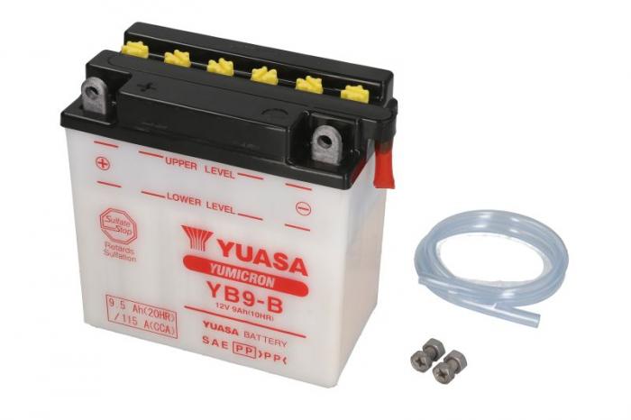 Baterie moto Acid/cu intretinere YUASA 12V 9Ah 115A L+ aerisire dreapta 135x75x139 Incarcare uscata fara acid  0
