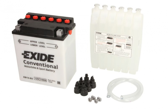 Baterie moto Acid EXIDE 12V 14Ah 145A L+ aerisire dreapta 134x89x166 Incarcare uscata cu acid 0