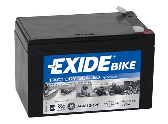 Baterie moto AGM/Backup EXIDE 12V 12Ah 150A 150x100x100  AGM12-12F 0