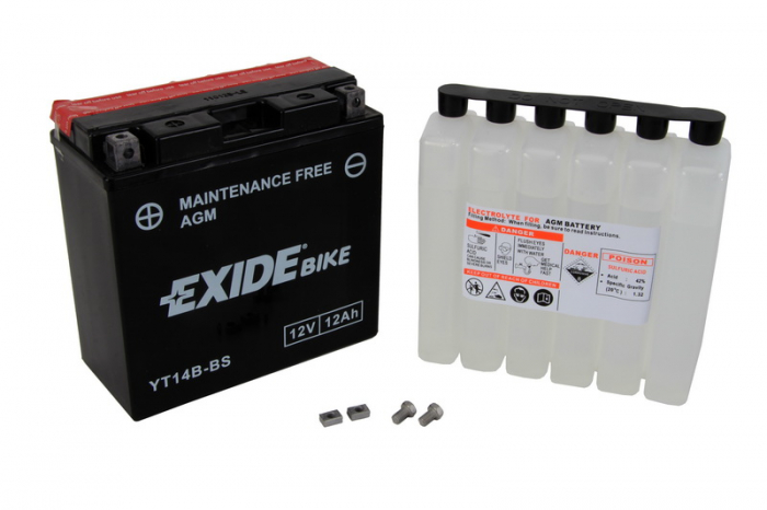 Baterie moto AGM/fara intretinere EXIDE 12V 12Ah 190A L+ 150x70x145 Incarcare uscata cu acid  0