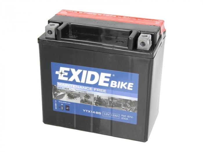 Baterie moto AGM/fara intretinere EXIDE 12V 12Ah 200A L+ 150x87x145 Incarcare uscata cu acid  0