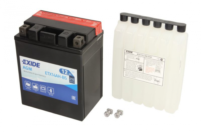 Baterie moto AGM/fara intretinere EXIDE 12V 12Ah 210A L+ 134x89x164 Incarcare uscata cu acid  0