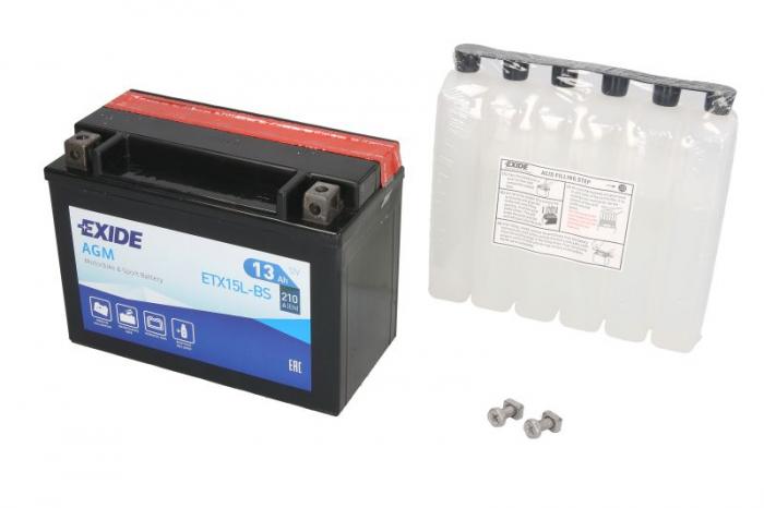 Baterie moto AGM/fara intretinere EXIDE 12V 13Ah 210A R+ 175x87x130 Incarcare uscata cu acid YTX15L-BS  0
