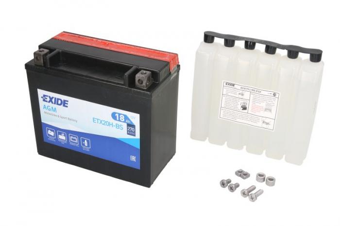 Baterie moto AGM/fara intretinere EXIDE 12V 18Ah 270A L+ 175x87x155 Incarcare uscata cu acid 0