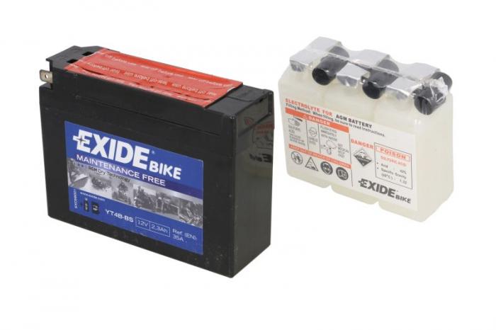 Baterie moto AGM/fara intretinere EXIDE 12V 2,3Ah 35A L+ 113x38x85 Incarcare uscata cu acid  0