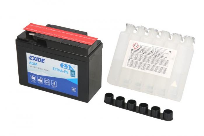 Baterie moto AGM/fara intretinere EXIDE 12V 2,3Ah 35A R+ 113x48x85 Incarcare uscata cu acid  0