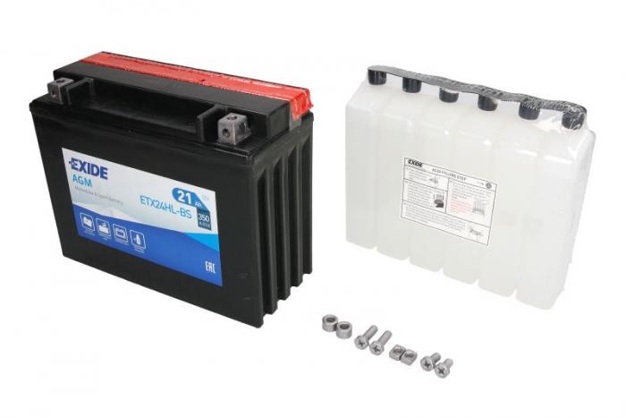 Baterie moto AGM/fara intretinere EXIDE 12V 21Ah 350A R+ 205x87x162 Incarcare uscata cu acid 0