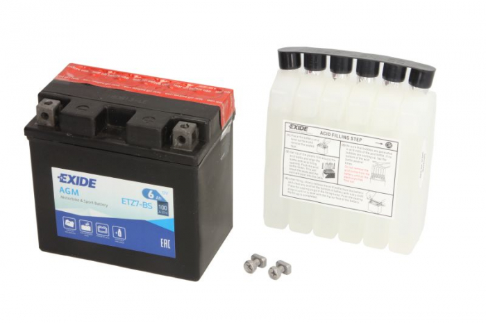 Baterie moto AGM/fara intretinere EXIDE 12V 6Ah 100A R+ 113x70x105 Incarcare uscata cu acid  0