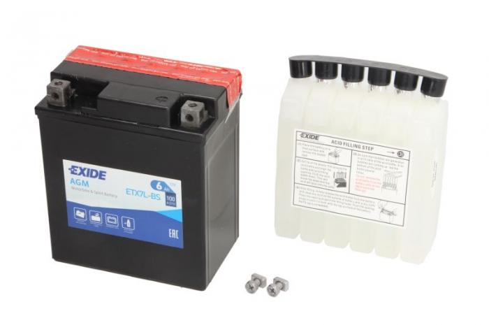 Baterie moto AGM/fara intretinere EXIDE 12V 6Ah 100A R+ 113x70x130 Incarcare uscata cu acid  0