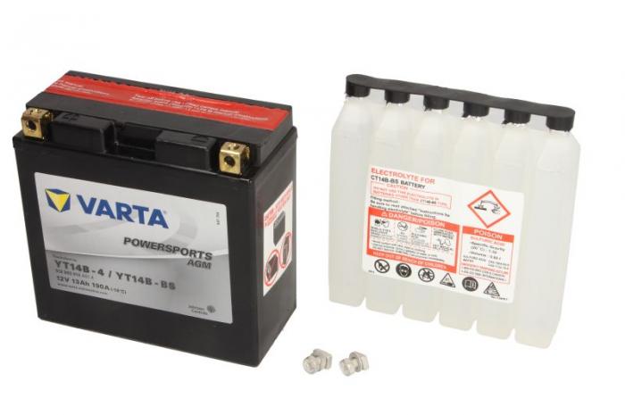 Baterie moto AGM/fara intretinere VARTA 12V 12Ah 190A L+ 152x70x150 Incarcare uscata cu acid  0