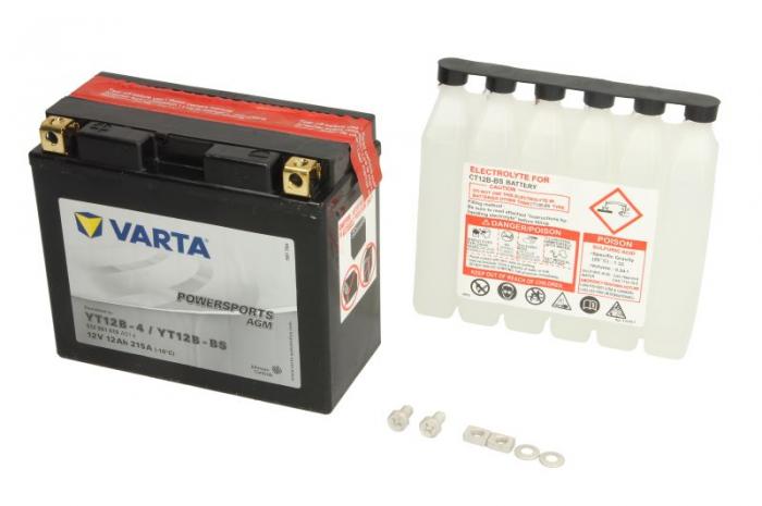Baterie moto AGM/fara intretinere VARTA 12V 12Ah 215A L+ 151x70x131 Incarcare uscata cu acid  0