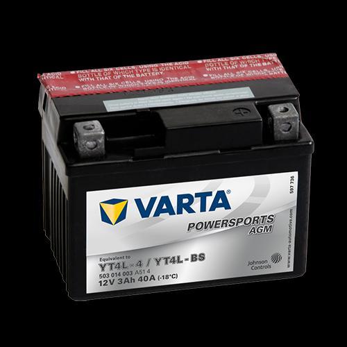 Baterie moto AGM/fara intretinere VARTA 12V 3Ah 40A R+ 114x71x86 Incarcare uscata cu acid  0