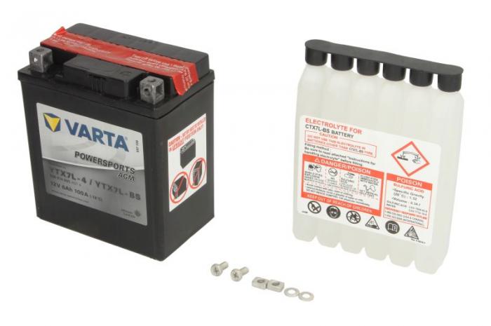 Baterie moto AGM/fara intretinere VARTA 12V 6Ah 100A R+ 114x71x131 Incarcare uscata cu acid  0