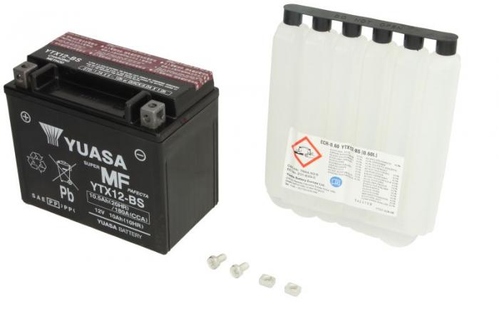 Baterie moto AGM/fara intretinere YUASA 12V 10Ah 180A L+ 150x87x130 Incarcare uscata cu acid  0