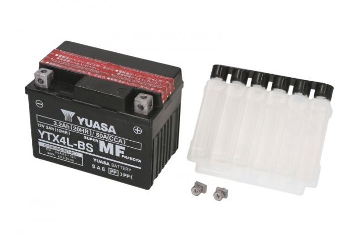 Baterie moto AGM/fara intretinere YUASA 12V 3Ah 50A R+ 114x71x86 Incarcare uscata cu acid  0
