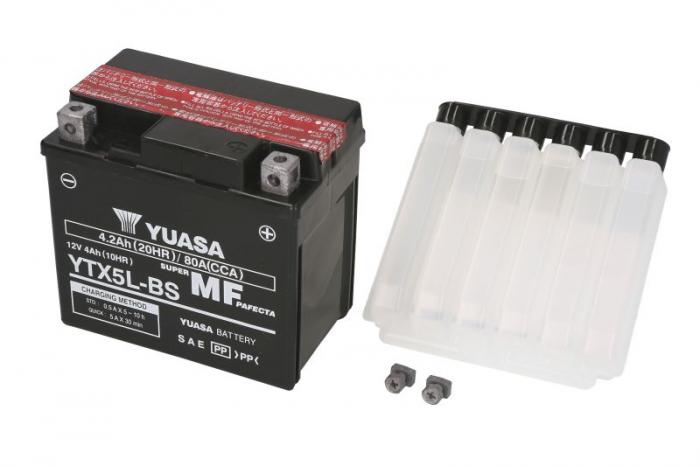 Baterie moto AGM/fara intretinere YUASA 12V 4Ah 80A R+ 114x71x106 Incarcare uscata cu acid  0
