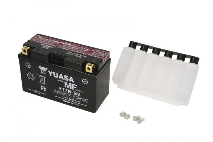 Baterie moto AGM/fara intretinere YUASA 12V 6,5Ah 110A L+ 150x65x93 Incarcare uscata cu acid  0