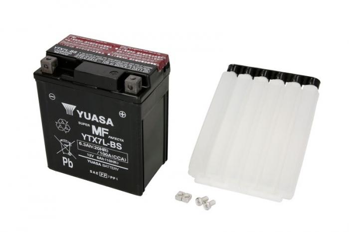 Baterie moto AGM/fara intretinere YUASA 12V 6Ah 100A R+ 114x71x131 Incarcare uscata cu acid  0
