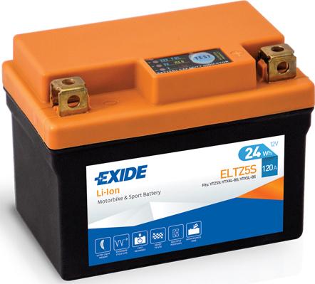 Baterie moto Lithium-ion/fara intretinere EXIDE 12V 24Wh 120A R+ 113x70x85  ELTZ5S  0