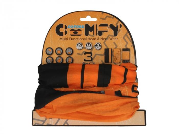 Esarfa OXFORD HD culoare negru/portocaliu, marime OS pachet 3 bucati 0