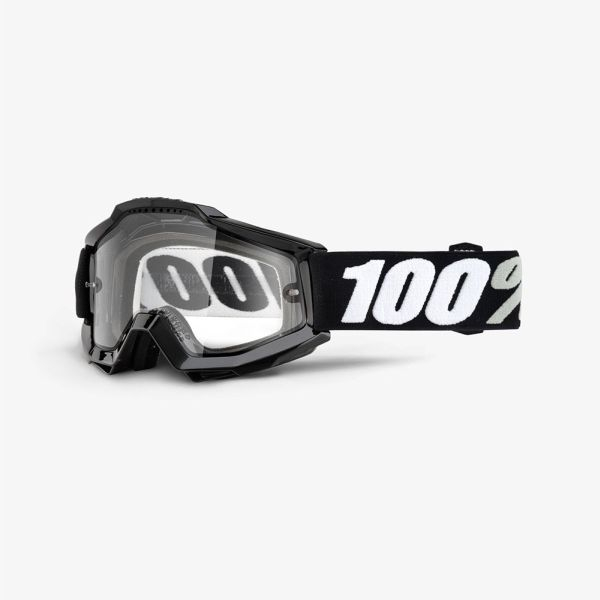 Ochelari Off-road  moto 100% ACCURI ENDURO Tornado culoare negru/alb, 2 straturi, viziera dubla, transparent 0