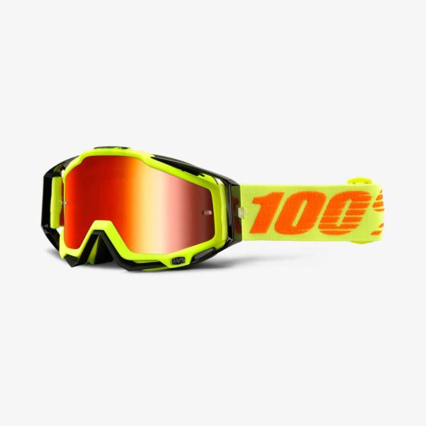 Ochelari Off-road  moto 100% RACECRAFT Attack culoare portocaliu/galben, 2 straturi, viziera, rosu 0