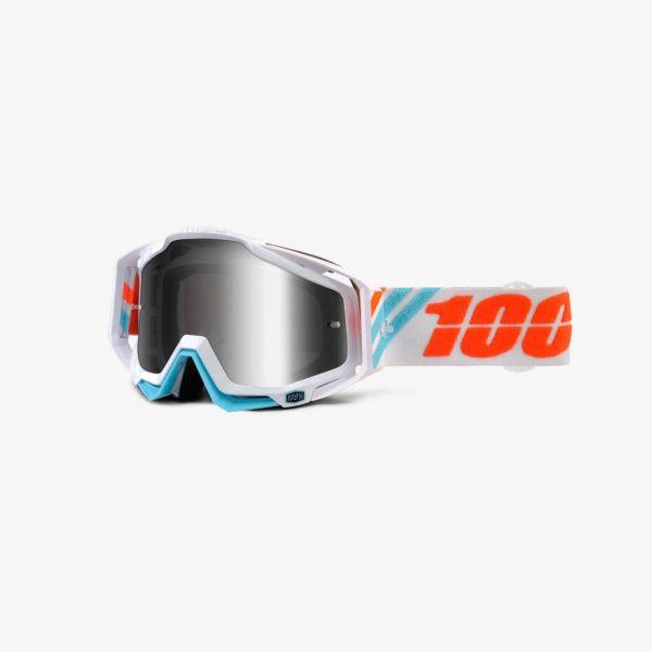 Ochelari Off-road  moto 100% RACECRAFT Calculus ICE culoare albastru/portocaliu/alb, 2 straturi, viziera 0