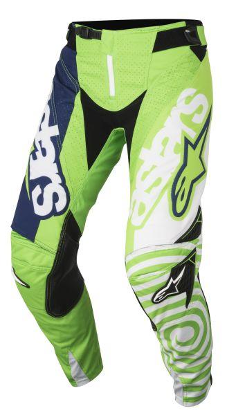 Pantaloni cross/enduro ALPINESTARS MX YOUTH RACER VENOM culoare fluorescent/verde/albastru navy/alb, marime 24 0