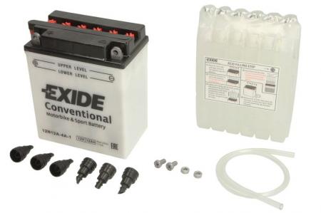 Baterie moto Acid/cu intretinere EXIDE 12V 12Ah 115A L+ aerisire stanga 134x80x160 Incarcare uscata cu acid