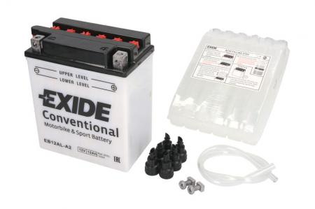 Baterie moto Acid/cu intretinere EXIDE 12V 12Ah 165A R+ aerisire stanga 134x80x160 Incarcare uscata cu acid