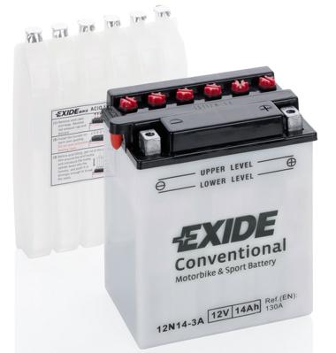 Baterie moto Acid/cu intretinere EXIDE 12V 14Ah 130A R+ aerisire stanga 134x89x166 Incarcare uscata cu acid