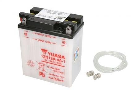 Baterie moto Acid/cu intretinere YUASA 12V 12Ah 120A L+ aerisire stanga 134x80x160 Incarcare uscata fara acid
