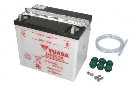 Baterie moto Acid/cu intretinere YUASA 12V 24Ah 200A R+ aerisire stanga 184x124x175 Incarcare uscata fara acid