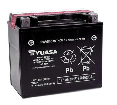 Baterie moto AGM YUASA 12V 12Ah 210A L+ 150x87x145 Incarcare uscata cu acid
