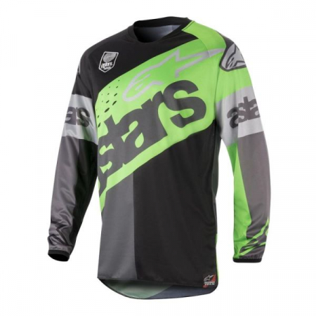 Bluza off-road ALPINESTARS MX RACER FLAGSHIP culoare negru/fluorescent/verde/gri, marime S