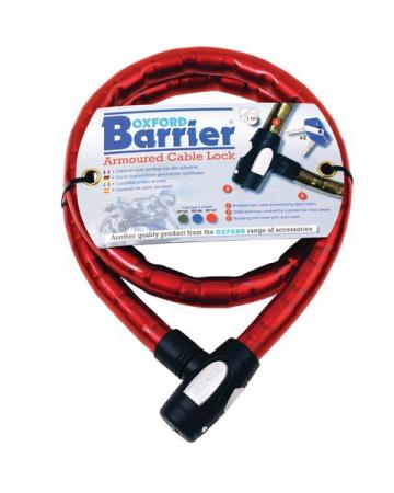 """Cablu armat cu lacat """"Barrier"""" 25mmx1.5m, Rosu"""