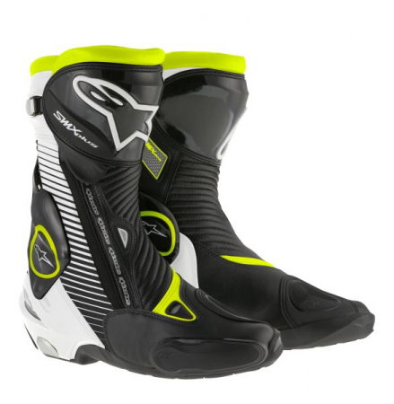 Ghete piele sport SMX-PLUS ALPINESTARS culoare negru/fluorescent/alb/galben, marime 39