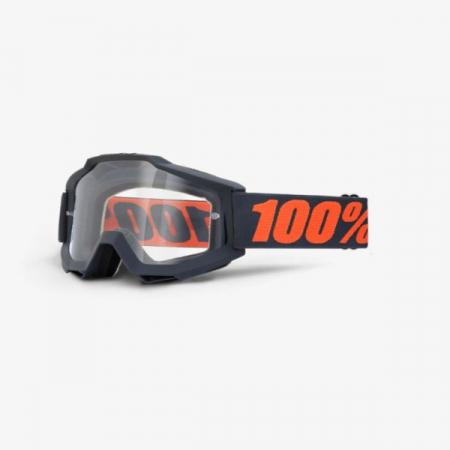 Ochelari moto Off-road 100% ACCURI Matte Gunmetal culoare albastru navy/portocaliu, 2 straturi, vizor transparent