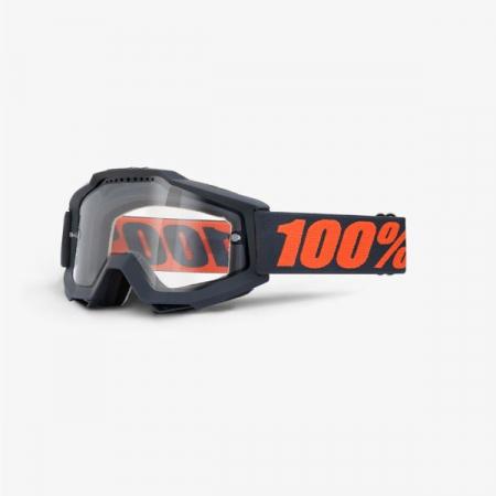 Ochelari Off-road  moto 100% ACCURI ENDURO Gunmetal culoare negru/portocaliu, 2 straturi, viziera dubla, transparent