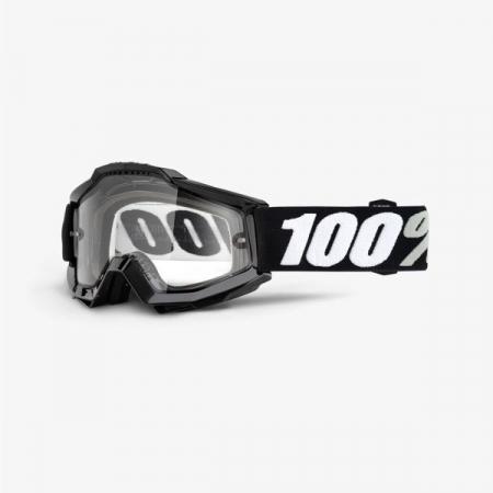 Ochelari Off-road  moto 100% ACCURI ENDURO Tornado culoare negru/alb, 2 straturi, viziera dubla, transparent