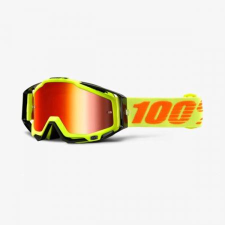 Ochelari Off-road  moto 100% RACECRAFT Attack culoare portocaliu/galben, 2 straturi, viziera, rosu