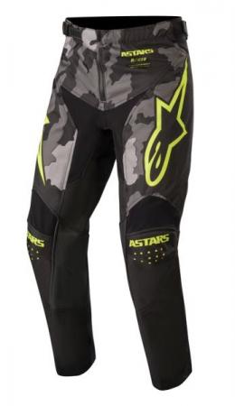 Pantaloni cross/enduro ALPINESTARS MX YOUTH RACER TACTICAL culoare negru/camuflaj/fluorescent/gri/galben, marime 22
