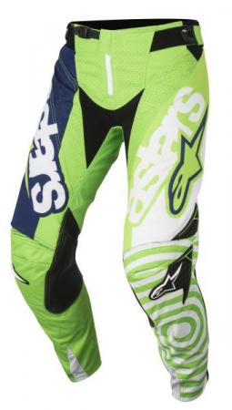 Pantaloni cross/enduro ALPINESTARS MX YOUTH RACER VENOM culoare fluorescent/verde/albastru navy/alb, marime 24