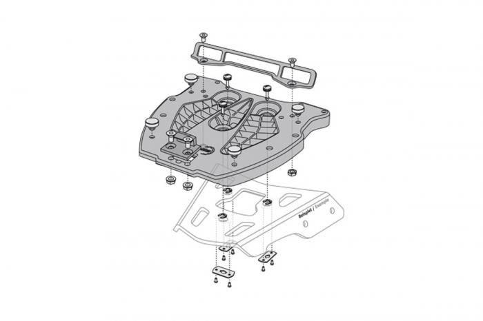 Adaptor placa Top Case SHAD. Fiber reinforced Nylon. Negru [1]
