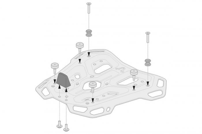 Kit adaptor pentru placa Top Case ADV Top-Rack negru pentru Givi Monokey [1]